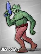 JEStockArt - SciFi - Green Alien Ogre with Blaster - CNB