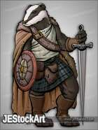 JEStockArt - Fantasy_Lycan - Celtic Badger with Longsword - CNB