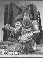 JEStockArt - Supers - Supervillain with Giant Robot - HQGWB