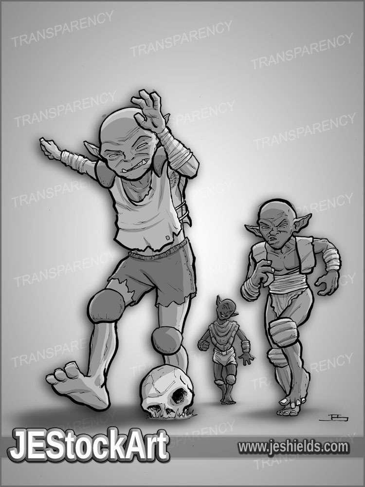 JEStockArt - Fantasy - Goblin Youths Play Soccer - GNB