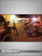 JEStockArt - Fantasy - Dark London Magical Combat - HQCB