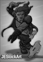 JEStockArt - Fantasy - Female Dwarven Alchemist Throwing Stars - GNB