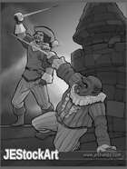 JEStockArt - Fantasy - Renaissance Swordsmen Fighting on Rooftop - GB