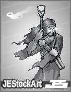 JEStockArt - Fantasy - Sketchy Wizard with Skull Staff - LNB