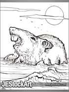 PWYW JEStockArt - Fantasy - Enormous Dire Rat Swimming
