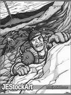 JEStockArt - Fantasy - Adventurer Climbing to Escape - GB