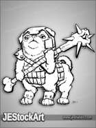 PWYW JEStockArt - Fantasy - Pugtaur with Bone Mace and Helm