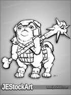 PWYW JEStockArt - Fantasy - Pugtaur with Bone Mace and Helm