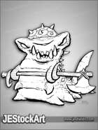 PWYW JEStockArt - Fantasy - Armored Shark Slug with Battle Axe