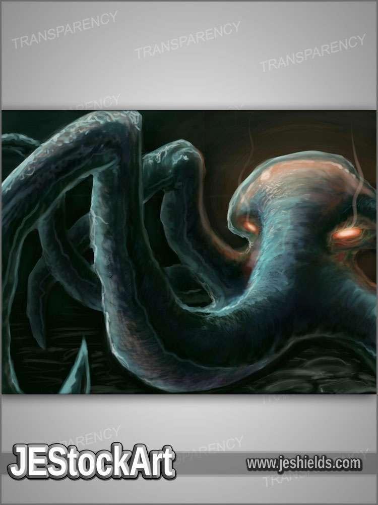 JEStockArt - Fantasy - Blue Octopus Creature - DPNB