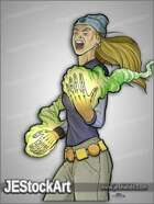 JEStockArt - Supers - Young Heroine with New Powers - CNB