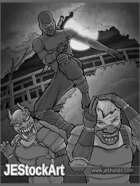JEStockArt - Supers - Ninja Hero versus Kabuki Guards - GWB