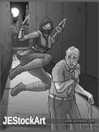 JEStockArt - Supers - Ninja Attack in Alley - GWB