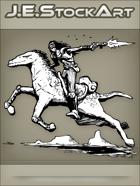 JEStockArt - SciFi - Cowboy Bandit Fires While Riding Alien Horse - INB