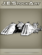 JEStockArt - SciFi - Spacecraft Cruiser with Triple Lead Turrets - INB