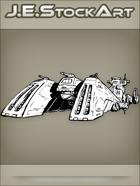 JEStockArt - SciFi - Spacecraft Cruiser with Triple Lead Turrets - INB
