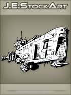 JEStockArt - SciFi - Spacecraft Batleship With Multiple Gun Turrets - INB
