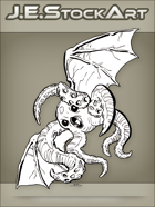 JEStockArt - SciFi - Tentacled Bat Creature With Beak - INB