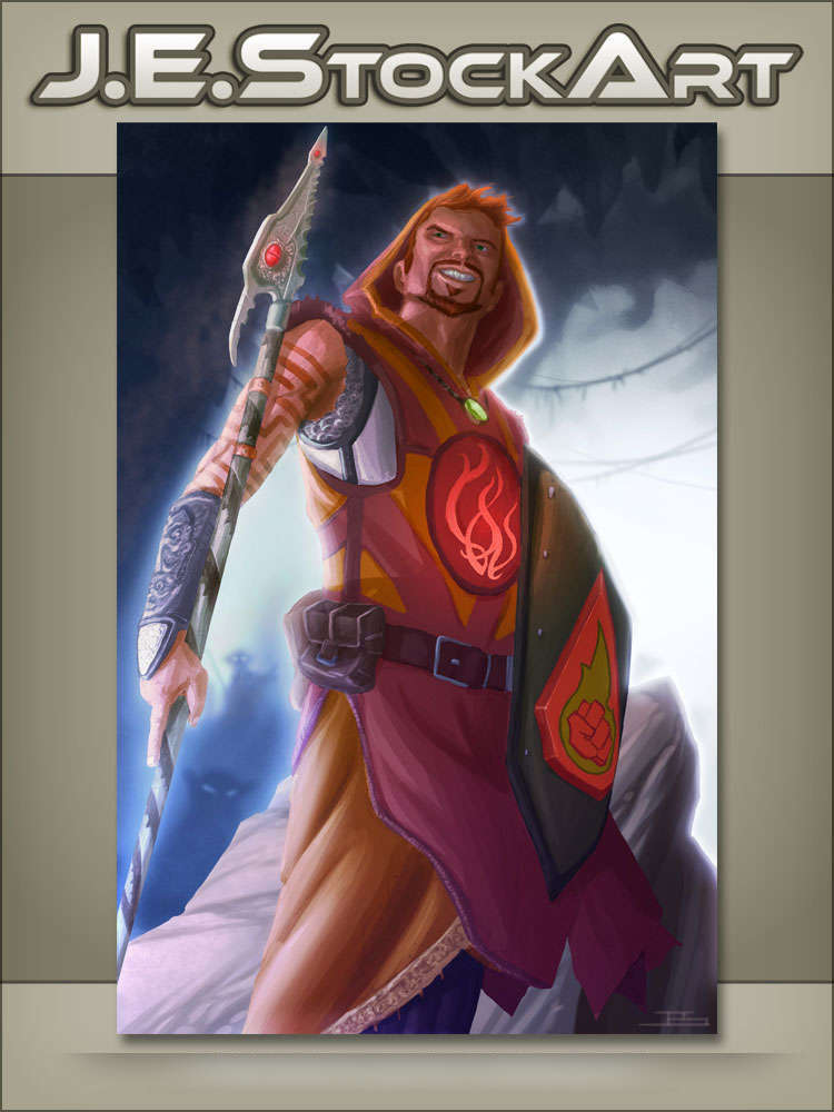 JEStockArt - Fantasy - Robed Adventurer with Spear and Shield - DPWB