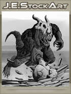 JEStockArt - Fantasy - Draconian Lizard Man Charges With Spiked Mace - GNB