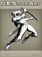 JEStockArt - Fantasy - Hammerhead Shark Ninja Leaping with Sword - INB
