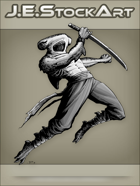 JEStockArt - Fantasy - Hammerhead Shark Ninja Leaping with Sword - GNB