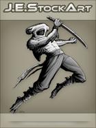 JEStockArt - Fantasy - Hammerhead Shark Ninja Leaping with Sword - GNB