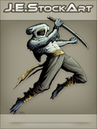 JEStockArt - Fantasy - Hammerhead Shark Ninja Leaping with Sword - CNB