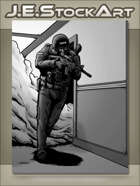JEStockArt - Modern - Police Swat Officer Clearing Hallway - GWB