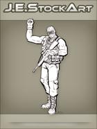 JEStockArt - Modern - Sleeveless Militia Personnel Raising Fist - LNB