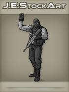 JEStockArt - Modern - Sleeveless Militia Personnel Raising Fist - GNB