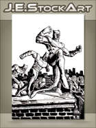 JEStockArt - Supers - Animal Themed Vigilante Over City - IWB