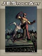 JEStockArt - Supers - Animal Themed Vigilante Over City - CWB