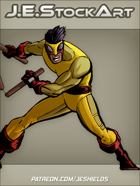 JEStockArt - Supers - Martial Artist With Collapsible Staff - CNB