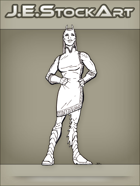 JEStockArt - SciFi - Alien Lady In Dress With Antennae - LNB