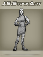 JEStockArt - SciFi - Alien Lady In Dress With Antennae - GNB