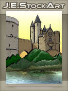 JEStockArt - Fantasy - Castle Towers Overlooking Water - CWB