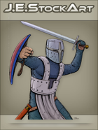 JEStockArt - Fantasy - Bucket Helmet Knight Swinging Sword - CNB