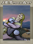 JEStockArt - Fantasy - Medieval Woman Grieving over Fallen Soldier - CWB