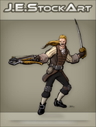 JEStockArt - Fantasy - Swordsman In Fancy Garb With Crossbow - CNB