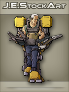 JEStockArt - SciFi - Older Fit Man In Exoskeleton With Dual Vises - CNB