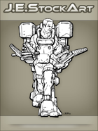 JEStockArt - SciFi - Older Fit Man In Exoskeleton With Dual Vises - INB