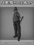 JEStockArt - Steampunk - Gaslight Bobby with Handlebar Moustache Wields Club - GNB