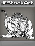 PWYW JEStockArt - SciFi - Cybernetic Warthog With Tendril Mane Charging In Dust - INB