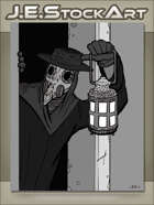 JEStockArt - MG00_NE_Fantasy - Plague Doctor With Lantern In Doorway - GWB