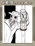 JEStockArt - MG00_NE_Fantasy - Plague Doctor With Lantern In Doorway - LWB