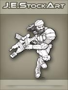 JEStockArt - PostA - Running Gunner With Dreads - LNB