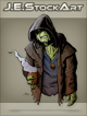 JEStockArt - SciFi - Hooded Alien with Steaming Mug - CNB