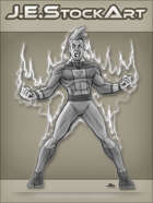 JEStockArt - Supers - Hero with Spiky Hair Power Raging - GNB