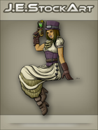 JEStockArt - Steampunk - Sitting Gal in Top Hat With Pistol - CNB